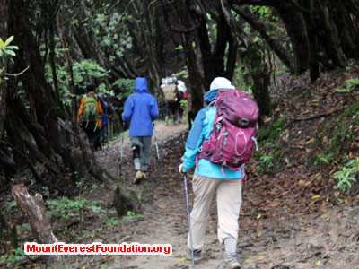 nepal volunteer trek, team hiking to next camp