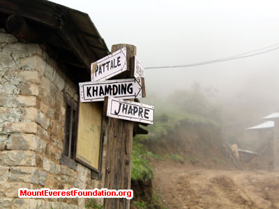 nepal volunteer trek, street sign